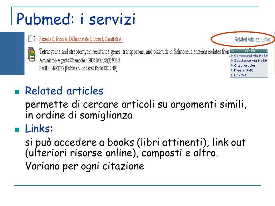 Pubmed: i servizi Related articles permette di cercare articoli su argomenti simili, in ordine di somiglianza Links: si può accedere a books (libri attinenti), link out (ulteriori risorse online), composti e altro.