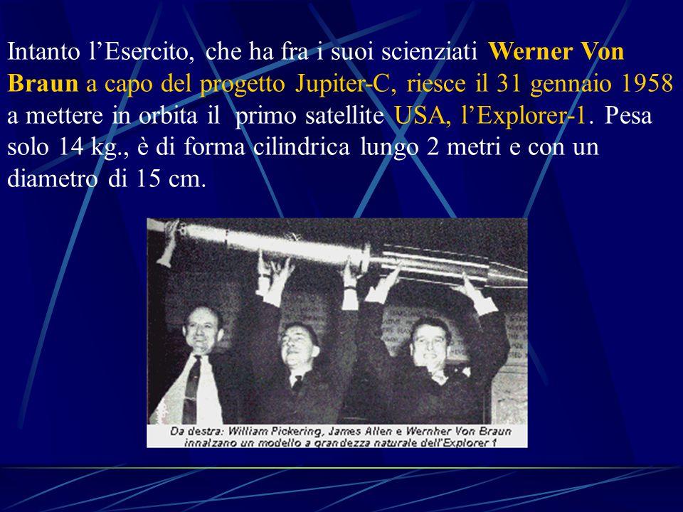 Intanto l'Esercito, che ha fra i suoi scienziati Werner Von Braun a capo del progetto Jupiter-C, riesce il 31 gennaio 1958 a mettere in orbita il primo satellite USA, l'Explorer-1.