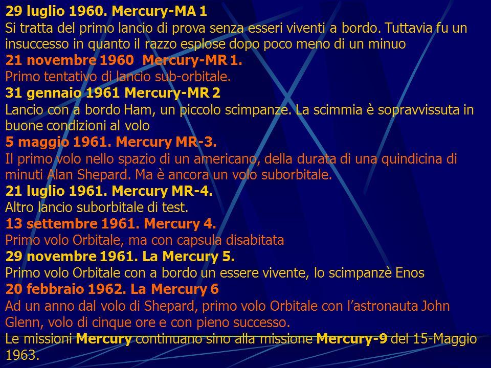 29 luglio 1960. Mercury-MA 1 Si tratta del primo lancio di prova senza esseri viventi a bordo.