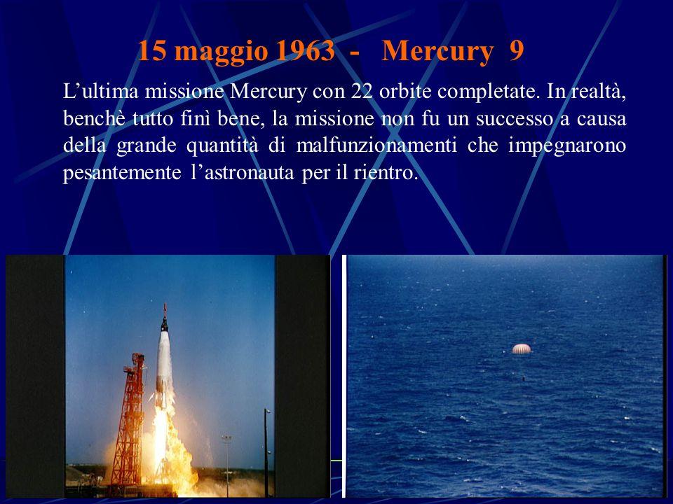 15 maggio 1963 - Mercury 9 L'ultima missione Mercury con 22 orbite completate.