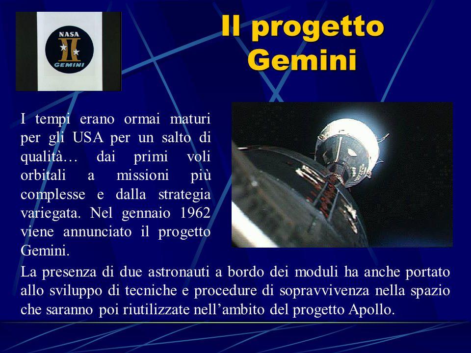 Il progetto Gemini I tempi erano ormai maturi per gli USA per un salto di qualità… dai primi voli orbitali a missioni più complesse e dalla strategia variegata.
