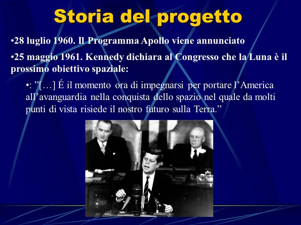Storia del progetto 28 luglio 1960. Il Programma Apollo viene annunciato 25 maggio 1961.