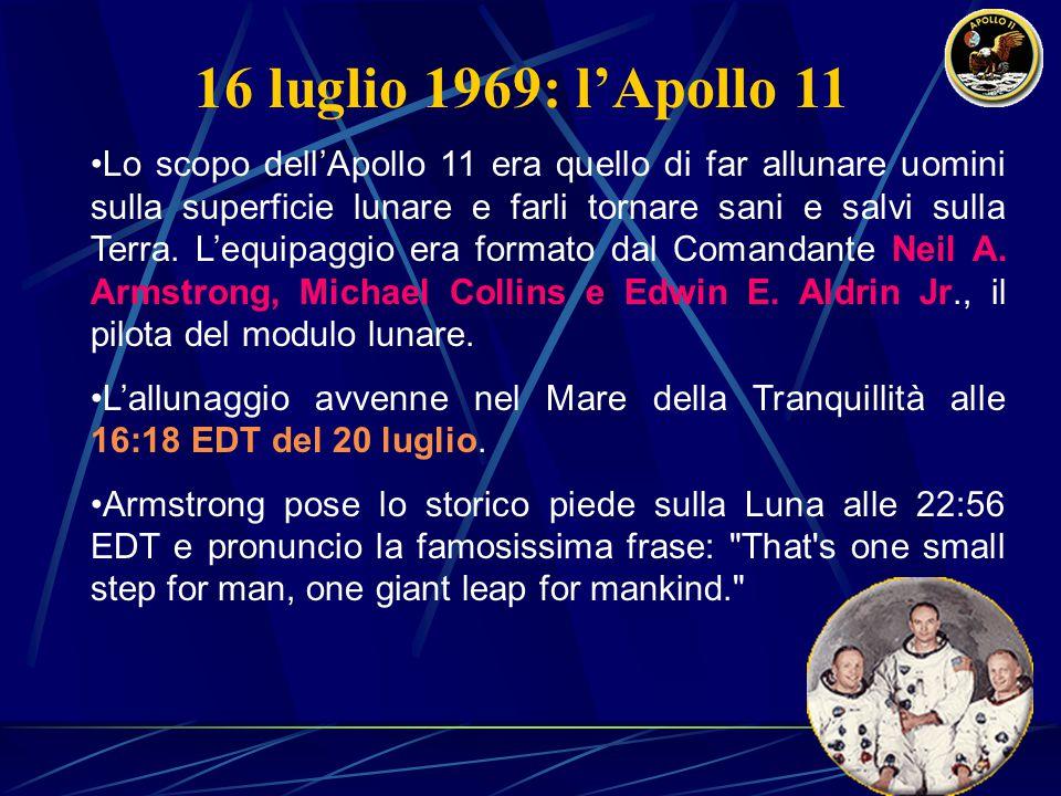 16 luglio 1969: l'Apollo 11 Lo scopo dell'Apollo 11 era quello di far allunare uomini sulla superficie lunare e farli tornare sani e salvi sulla Terra.