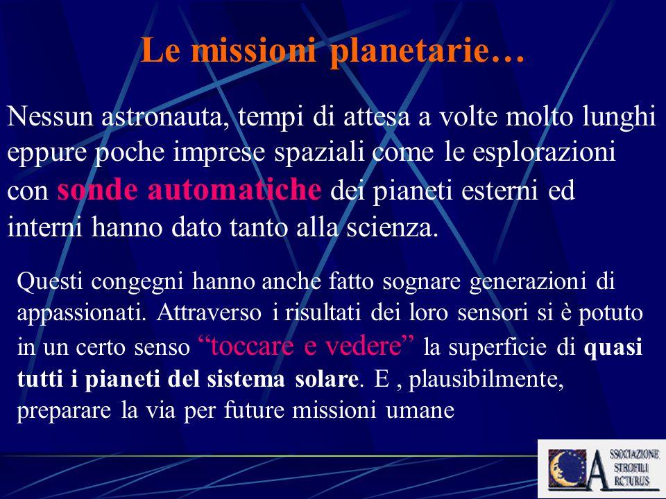 Le missioni planetarie… Nessun astronauta, tempi di attesa a volte molto lunghi eppure poche imprese spaziali come le esplorazioni con sonde automatiche dei pianeti esterni ed interni hanno dato tanto alla scienza.