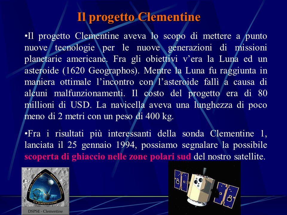 Il progetto Clementine Il progetto Clementine aveva lo scopo di mettere a punto nuove tecnologie per le nuove generazioni di missioni planetarie americane.