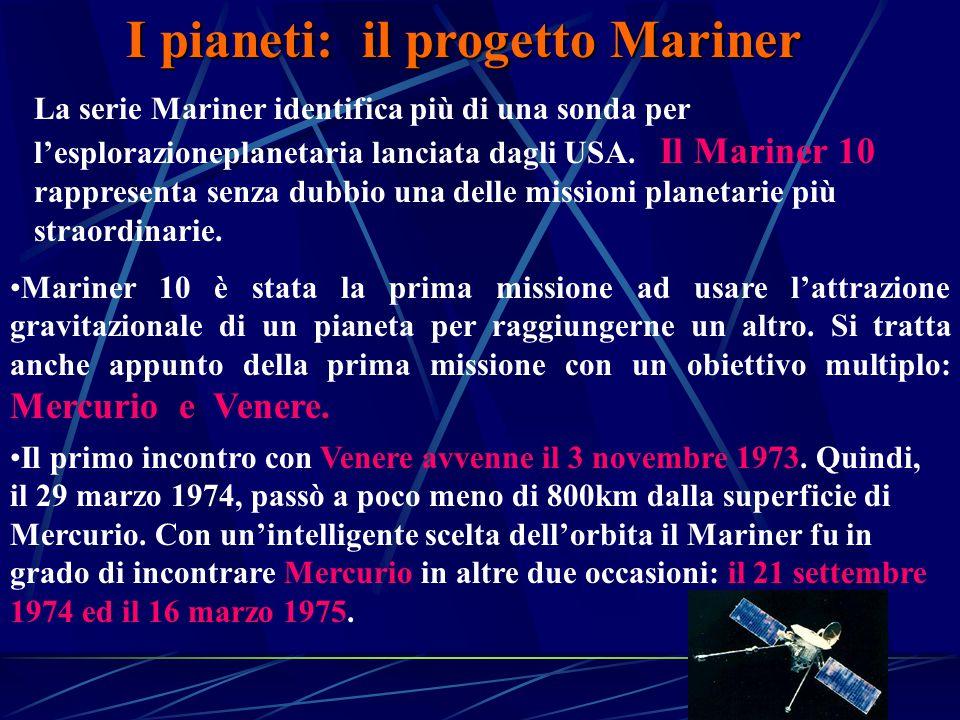 I pianeti: il progetto Mariner La serie Mariner identifica più di una sonda per l'esplorazioneplanetaria lanciata dagli USA.