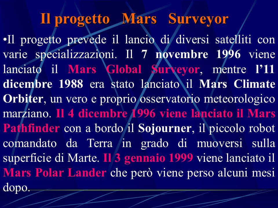 Il progetto Mars Surveyor Il progetto prevede il lancio di diversi satelliti con varie specializzazioni.