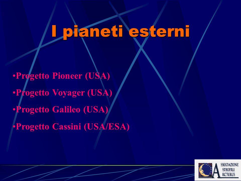 I pianeti esterni Progetto Pioneer (USA) Progetto Voyager (USA) Progetto Galileo (USA) Progetto Cassini (USA/ESA)