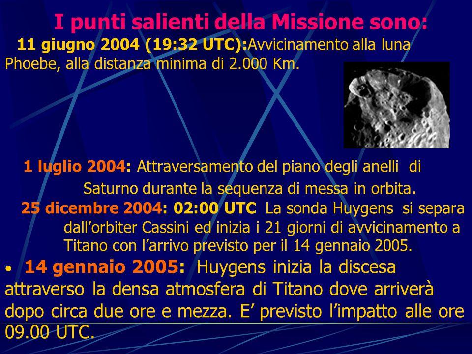 I punti salienti della Missione sono: 11 giugno 2004 (19:32 UTC):Avvicinamento alla luna Phoebe, alla distanza minima di 2.000 Km.