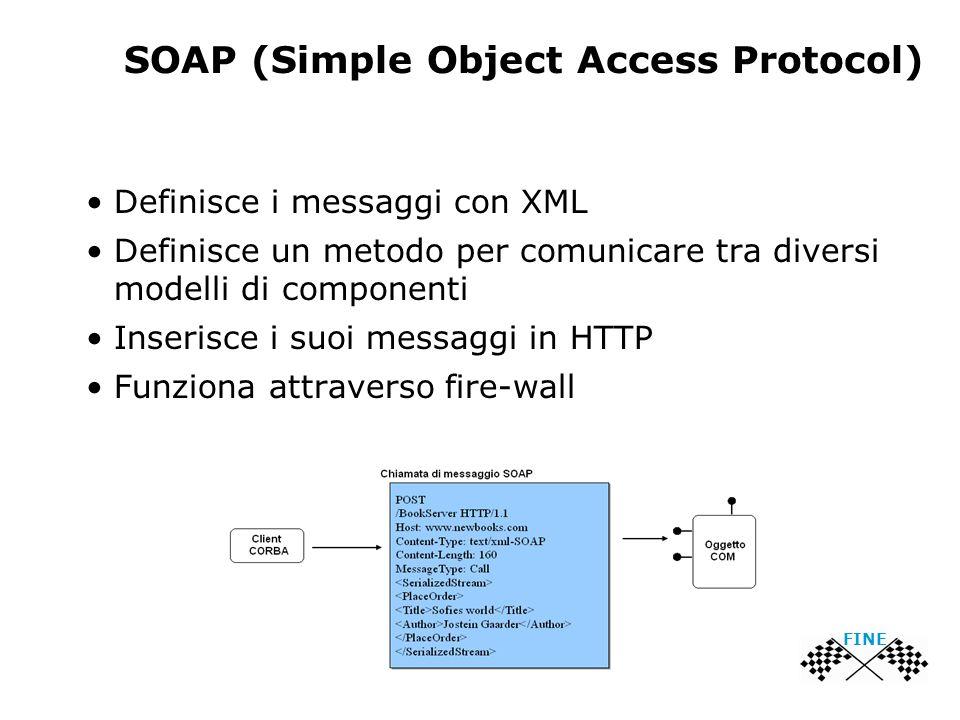 SOAP (Simple Object Access Protocol) Definisce i messaggi con XML Definisce un metodo per comunicare tra diversi modelli di componenti Inserisce i suoi messaggi in HTTP Funziona attraverso fire-wall FINE