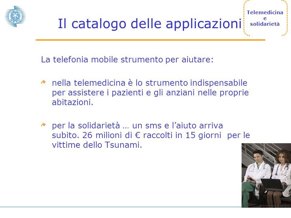 Il catalogo delle applicazioni La telefonia mobile strumento per aiutare: nella telemedicina è lo strumento indispensabile per assistere i pazienti e gli anziani nelle proprie abitazioni.