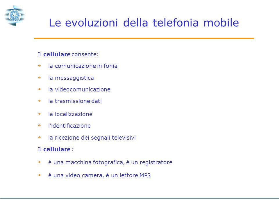 Le evoluzioni della telefonia mobile Il cellulare consente: la comunicazione in fonia la messaggistica la videocomunicazione la trasmissione dati la localizzazione l'identificazione la ricezione dei segnali televisivi Il cellulare : è una macchina fotografica, è un registratore è una video camera, è un lettore MP3