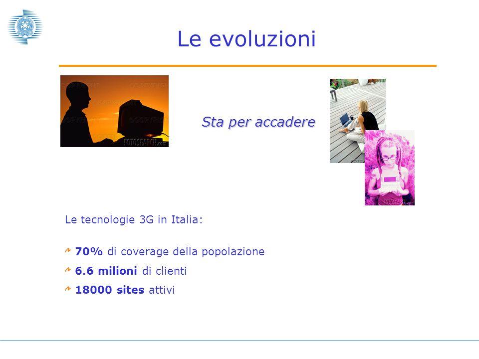 Le evoluzioni Sta per accadere Le tecnologie 3G in Italia: 70% di coverage della popolazione 6.6 milioni di clienti 18000 sites attivi