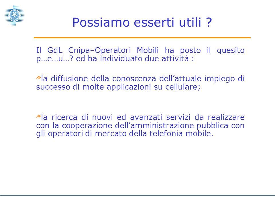 Il GdL Cnipa–Operatori Mobili ha posto il quesito p…e…u….