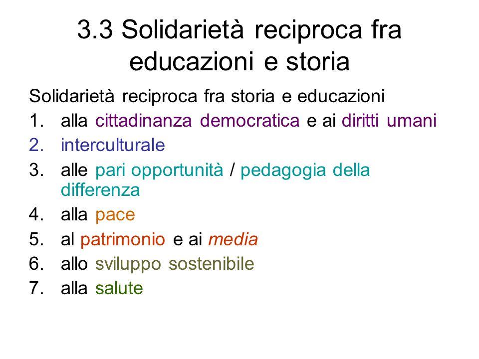 3.3 Solidarietà reciproca fra educazioni e storia Solidarietà reciproca fra storia e educazioni 1.alla cittadinanza democratica e ai diritti umani 2.interculturale 3.alle pari opportunità / pedagogia della differenza 4.alla pace 5.al patrimonio e ai media 6.allo sviluppo sostenibile 7.alla salute