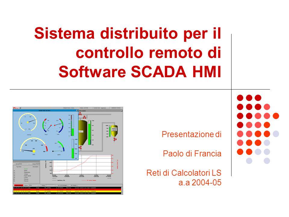 Sistema distribuito per il controllo remoto di Software SCADA HMI Presentazione di Paolo di Francia Reti di Calcolatori LS a.a 2004-05