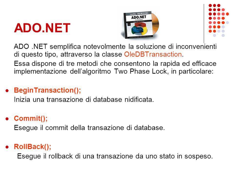 ADO.NET ADO.NET semplifica notevolmente la soluzione di inconvenienti di questo tipo, attraverso la classe OleDBTransaction.