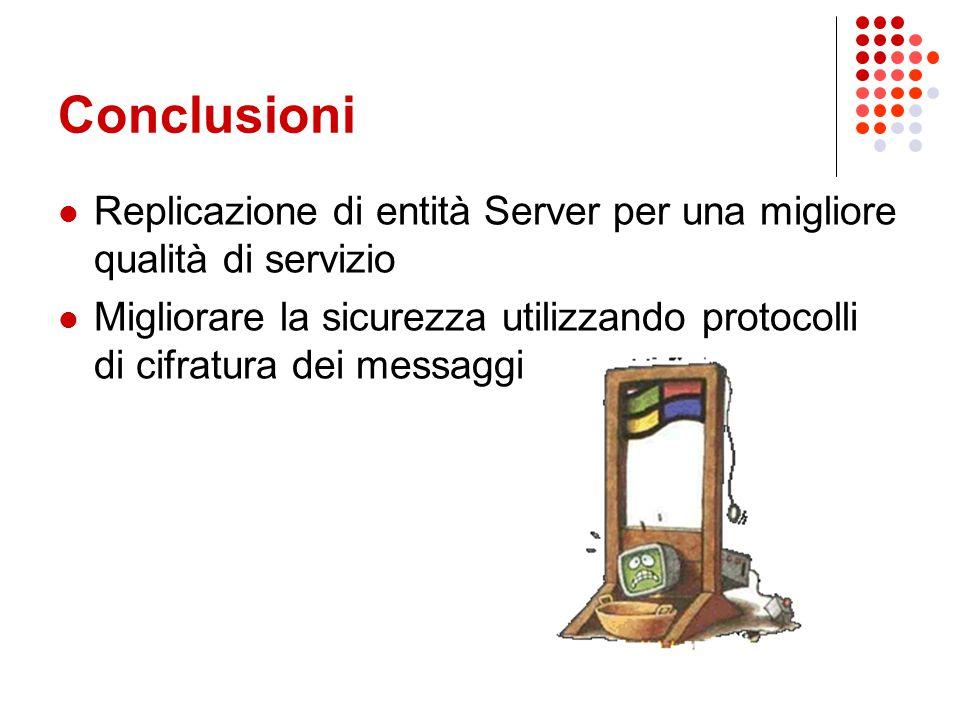 Conclusioni Replicazione di entità Server per una migliore qualità di servizio Migliorare la sicurezza utilizzando protocolli di cifratura dei messagg