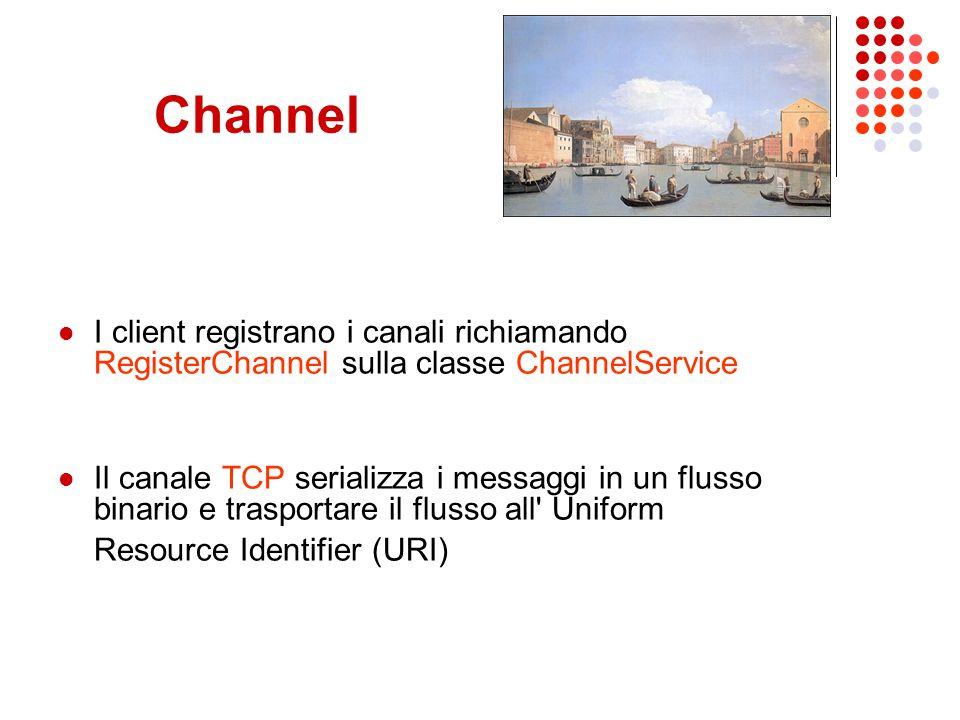 Channel I client registrano i canali richiamando RegisterChannel sulla classe ChannelService Il canale TCP serializza i messaggi in un flusso binario e trasportare il flusso all Uniform Resource Identifier (URI)