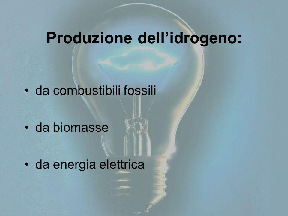 Produzione dell'idrogeno: da combustibili fossili da biomasse da energia elettrica