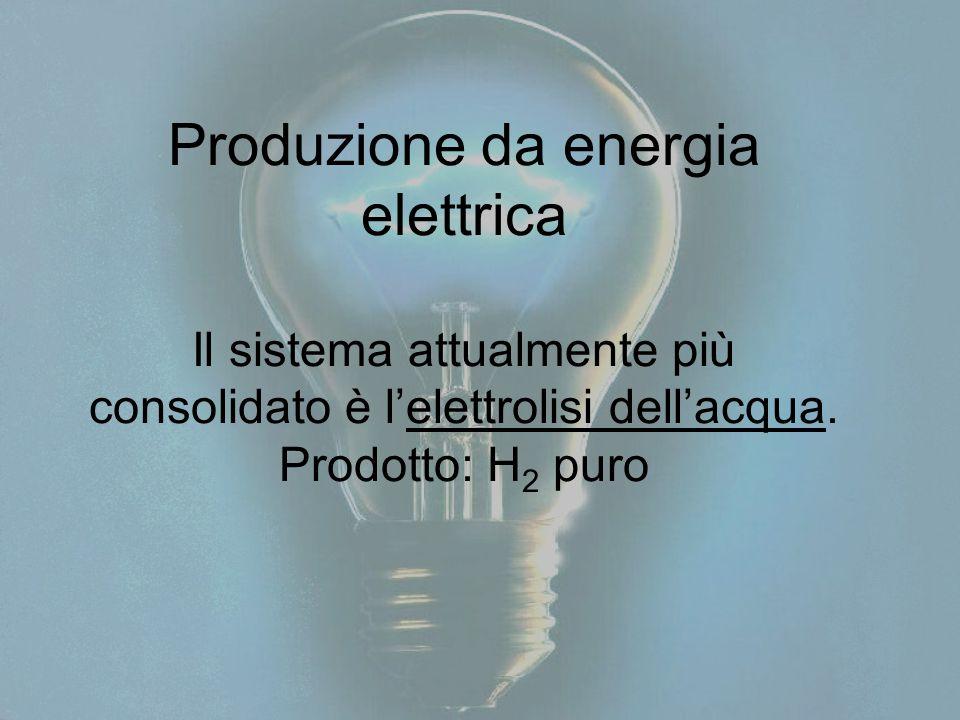 Produzione da energia elettrica Il sistema attualmente più consolidato è l'elettrolisi dell'acqua. Prodotto: H 2 puro
