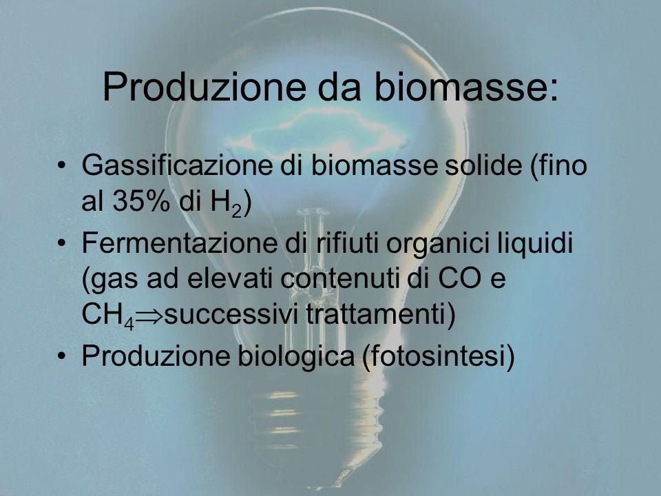 Produzione da biomasse: Gassificazione di biomasse solide (fino al 35% di H 2 ) Fermentazione di rifiuti organici liquidi (gas ad elevati contenuti di CO e CH 4  successivi trattamenti) Produzione biologica (fotosintesi)