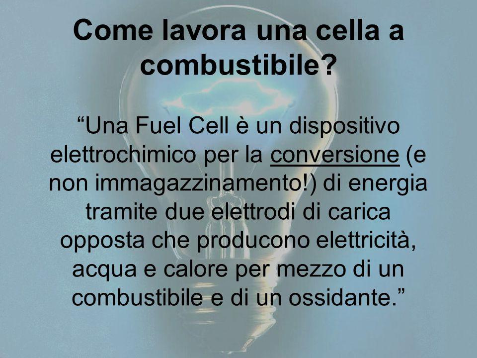 """Come lavora una cella a combustibile? """"Una Fuel Cell è un dispositivo elettrochimico per la conversione (e non immagazzinamento!) di energia tramite d"""
