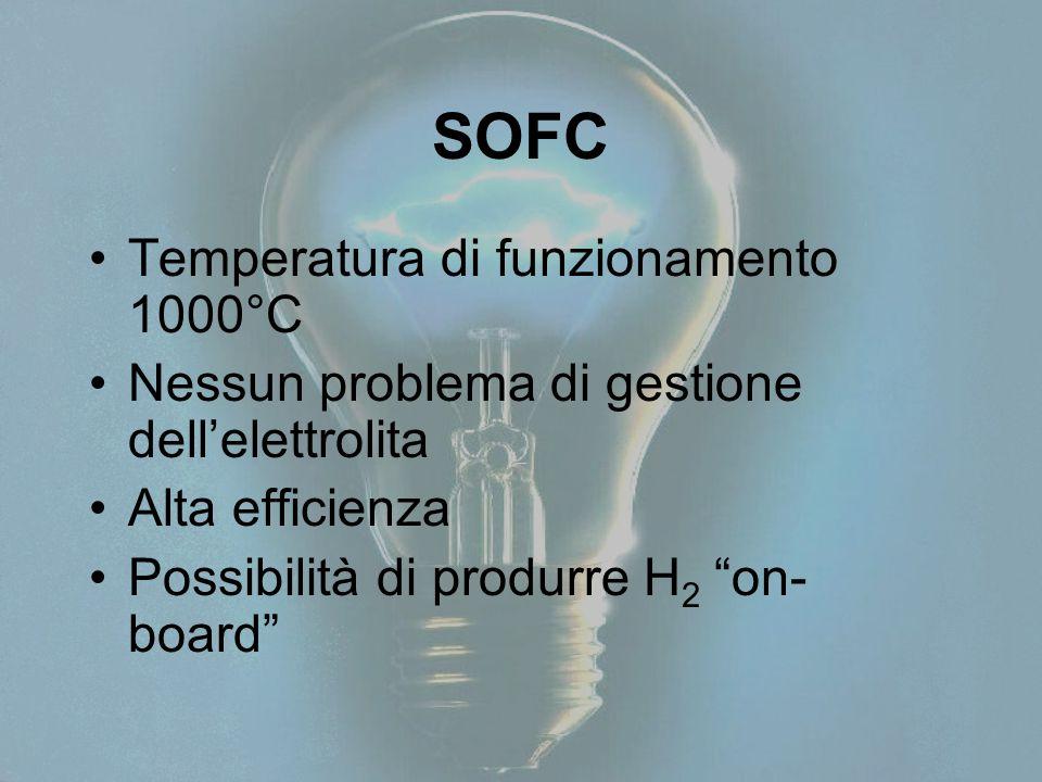 """SOFC Temperatura di funzionamento 1000°C Nessun problema di gestione dell'elettrolita Alta efficienza Possibilità di produrre H 2 """"on- board"""""""