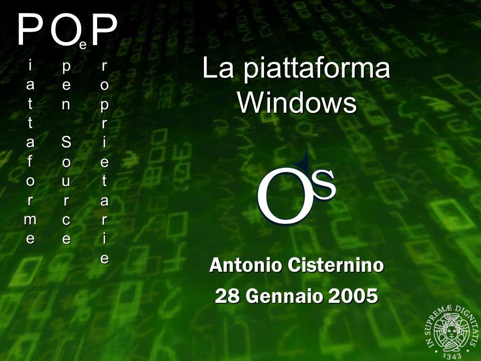 PiattaformePiattaformePiattaformePiattaforme Antonio Cisternino 28 Gennaio 2005 OpenSourceOpenSourceOpenSourceOpenSource e ProprietarieProprietarieProprietarieProprietarie La piattaforma Windows