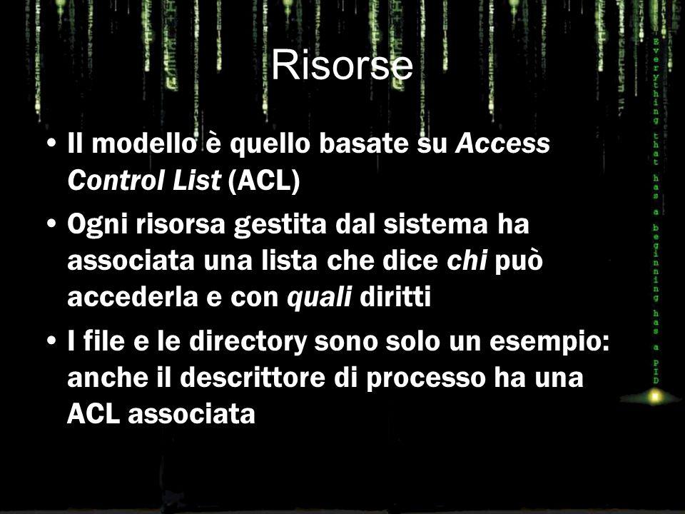 Risorse Il modello è quello basate su Access Control List (ACL) Ogni risorsa gestita dal sistema ha associata una lista che dice chi può accederla e con quali diritti I file e le directory sono solo un esempio: anche il descrittore di processo ha una ACL associata
