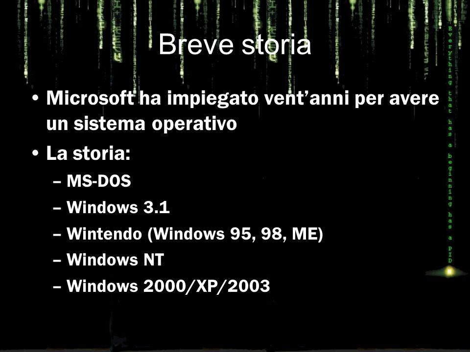 Breve storia Microsoft ha impiegato vent'anni per avere un sistema operativo La storia: –MS-DOS –Windows 3.1 –Wintendo (Windows 95, 98, ME) –Windows NT –Windows 2000/XP/2003