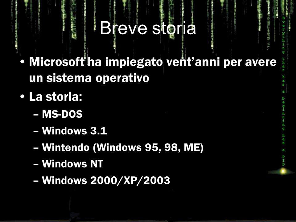 Un solo Kernel Windows oggi è un unico sistema operativo con differenti configurazioni (e prezzi): –Windows Xp (Home, Professional) –Windows Xp Embedded –Windows 2003 Server –Windows Tablet PC –Windows Media Center