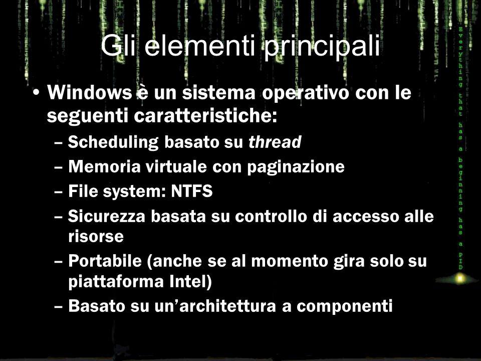 Gli elementi principali Windows è un sistema operativo con le seguenti caratteristiche: –Scheduling basato su thread –Memoria virtuale con paginazione –File system: NTFS –Sicurezza basata su controllo di accesso alle risorse –Portabile (anche se al momento gira solo su piattaforma Intel) –Basato su un'architettura a componenti