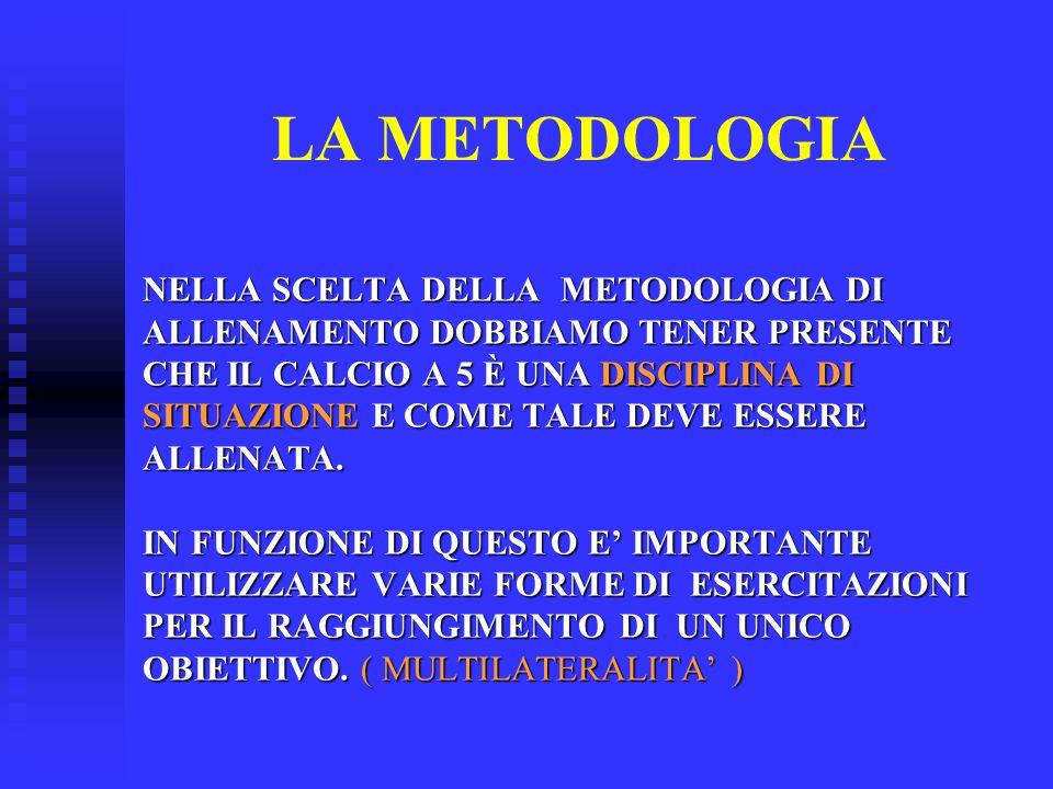 LA METODOLOGIA NELLA SCELTA DELLA METODOLOGIA DI ALLENAMENTO DOBBIAMO TENER PRESENTE CHE IL CALCIO A 5 È UNA DISCIPLINA DI SITUAZIONE E COME TALE DEVE