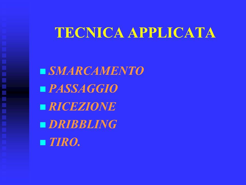 TECNICA APPLICATA SMARCAMENTO PASSAGGIO RICEZIONE DRIBBLING TIRO.