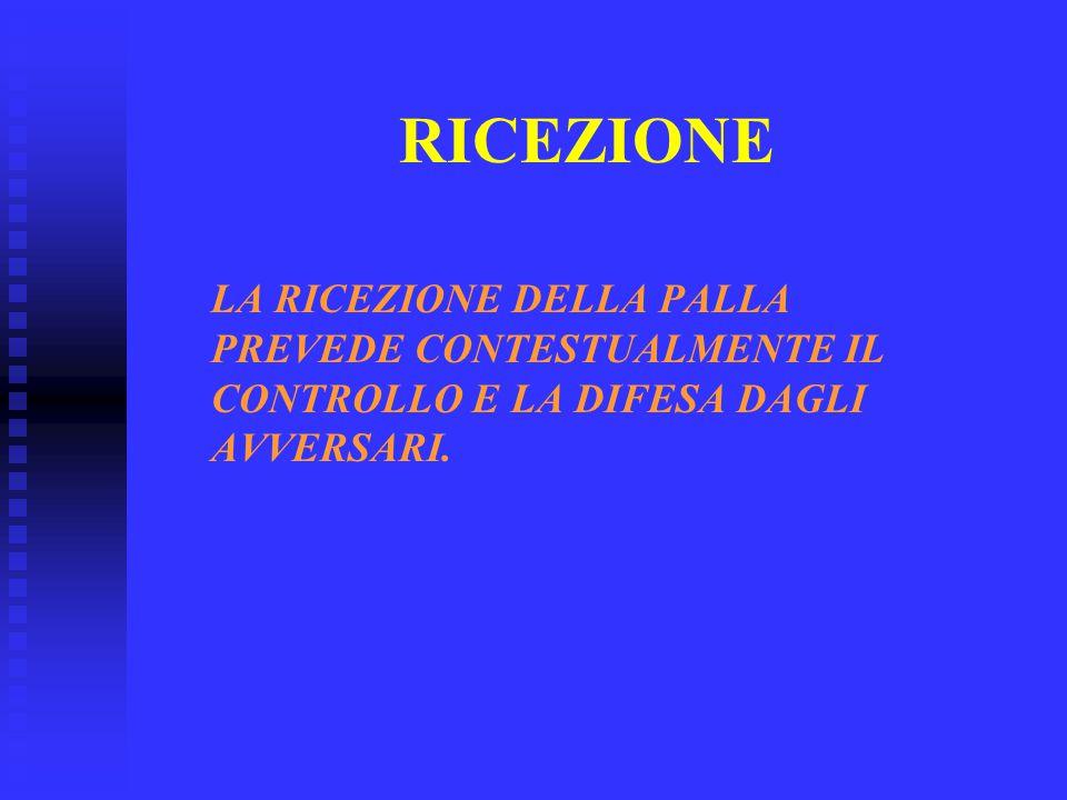 RICEZIONE LA RICEZIONE DELLA PALLA PREVEDE CONTESTUALMENTE IL CONTROLLO E LA DIFESA DAGLI AVVERSARI.