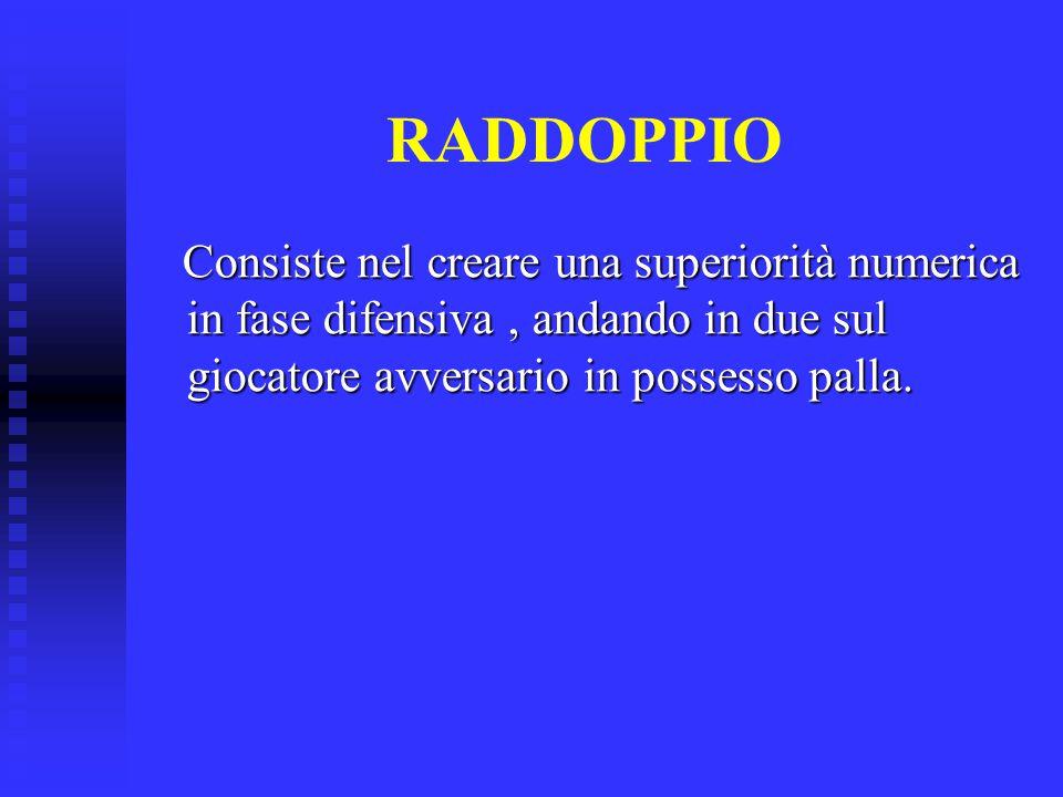 RADDOPPIO Consiste nel creare una superiorità numerica in fase difensiva, andando in due sul giocatore avversario in possesso palla. Consiste nel crea