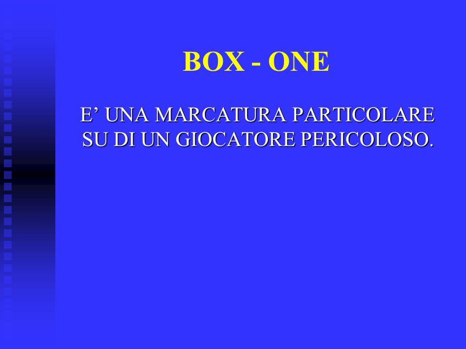 BOX - ONE E' UNA MARCATURA PARTICOLARE SU DI UN GIOCATORE PERICOLOSO. E' UNA MARCATURA PARTICOLARE SU DI UN GIOCATORE PERICOLOSO.
