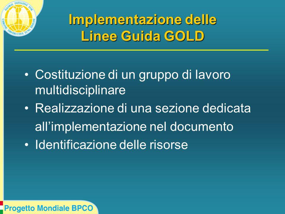 Implementazione delle Linee Guida GOLD Costituzione di un gruppo di lavoro multidisciplinare Realizzazione di una sezione dedicata all'implementazione nel documento Identificazione delle risorse