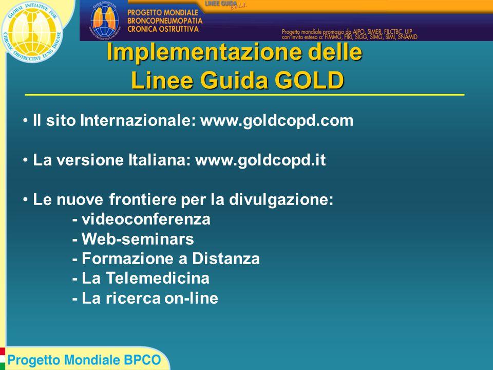 Il sito Internazionale: www.goldcopd.com La versione Italiana: www.goldcopd.it Le nuove frontiere per la divulgazione: - videoconferenza - Web-seminars - Formazione a Distanza - La Telemedicina - La ricerca on-line Implementazione delle Linee Guida GOLD