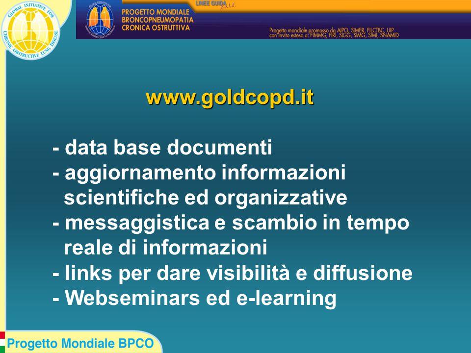 www.goldcopd.it - data base documenti - aggiornamento informazioni scientifiche ed organizzative - messaggistica e scambio in tempo reale di informazioni - links per dare visibilità e diffusione - Webseminars ed e-learning