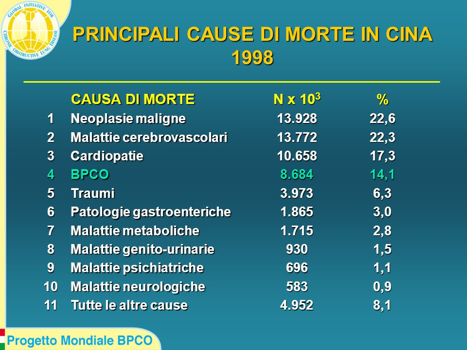 CAUSA DI MORTE CAUSA DI MORTE N x 10 3 % 1 Neoplasie maligne 13.92822,6 2 Malattie cerebrovascolari 13.77222,3 3Cardiopatie10.65817,3 4BPCO8.68414,1 5Traumi3.9736,3 6 Patologie gastroenteriche 1.8653,0 7 Malattie metaboliche 1.7152,8 8 Malattie genito-urinarie 9301,5 9 Malattie psichiatriche 6961,1 10 Malattie neurologiche 5830,9 11 Tutte le altre cause 4.9528,1 PRINCIPALI CAUSE DI MORTE IN CINA 1998