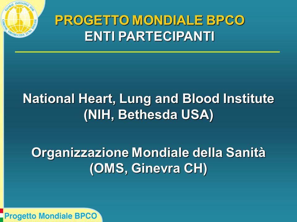 National Heart, Lung and Blood Institute (NIH, Bethesda USA) Organizzazione Mondiale della Sanità (OMS, Ginevra CH) PROGETTO MONDIALE BPCO ENTI PARTECIPANTI