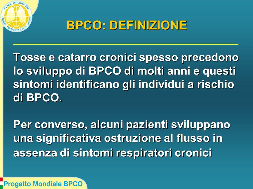 Tosse e catarro cronici spesso precedono lo sviluppo di BPCO di molti anni e questi sintomi identificano gli individui a rischio di BPCO.