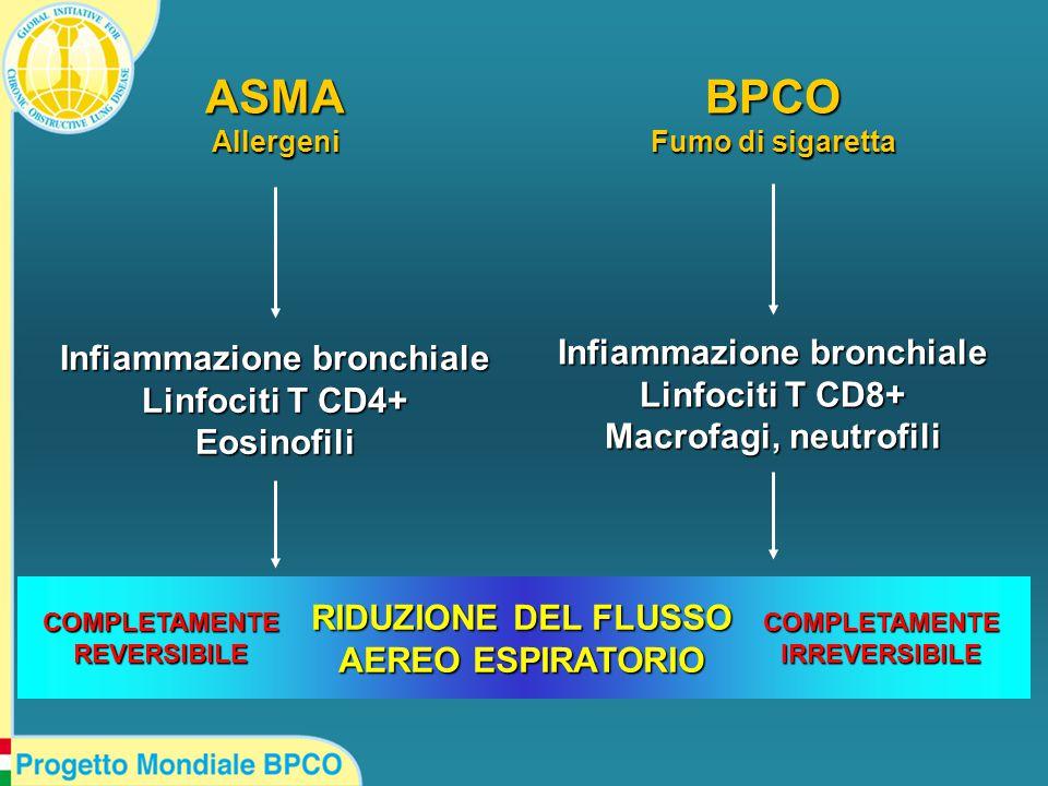 ASMAAllergeniBPCO Fumo di sigaretta Infiammazione bronchiale Linfociti T CD4+ Eosinofili Infiammazione bronchiale Linfociti T CD8+ Macrofagi, neutrofili RIDUZIONE DEL FLUSSO AEREO ESPIRATORIO COMPLETAMENTEREVERSIBILECOMPLETAMENTEIRREVERSIBILE