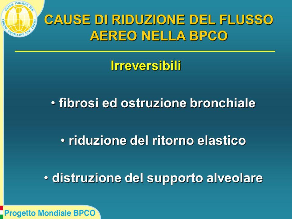 Irreversibili fibrosi ed ostruzione bronchiale fibrosi ed ostruzione bronchiale riduzione del ritorno elastico riduzione del ritorno elastico distruzione del supporto alveolare distruzione del supporto alveolare CAUSE DI RIDUZIONE DEL FLUSSO AEREO NELLA BPCO
