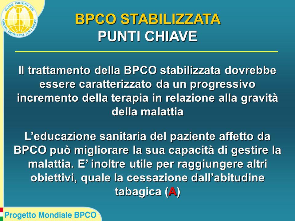 Il trattamento della BPCO stabilizzata dovrebbe essere caratterizzato da un progressivo incremento della terapia in relazione alla gravità della malattia L'educazione sanitaria del paziente affetto da BPCO può migliorare la sua capacità di gestire la malattia.