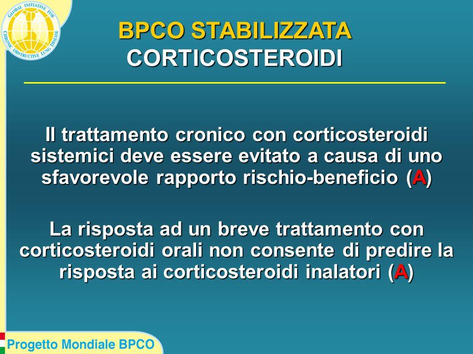 Il trattamento cronico con corticosteroidi sistemici deve essere evitato a causa di uno sfavorevole rapporto rischio-beneficio (A) La risposta ad un breve trattamento con corticosteroidi orali non consente di predire la risposta ai corticosteroidi inalatori (A) BPCO STABILIZZATA CORTICOSTEROIDI