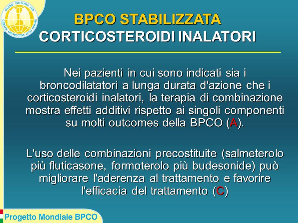 Nei pazienti in cui sono indicati sia i broncodilatatori a lunga durata d azione che i corticosteroidi inalatori, la terapia di combinazione mostra effetti additivi rispetto ai singoli componenti su molti outcomes della BPCO (A).