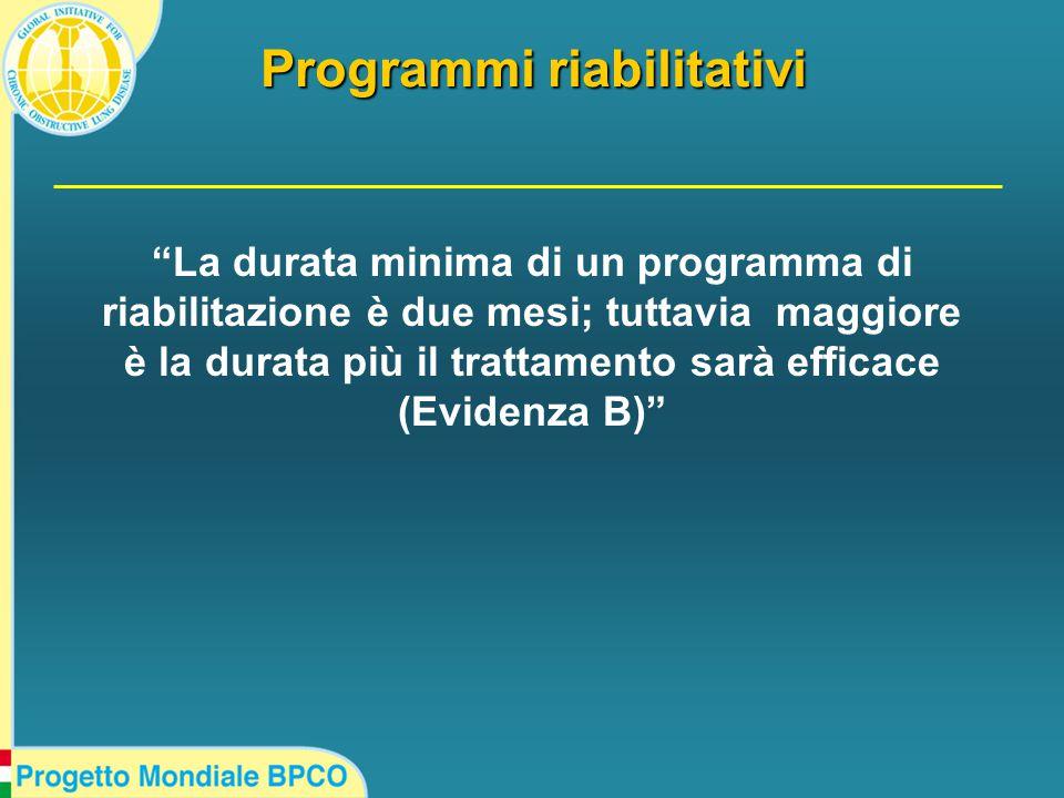La durata minima di un programma di riabilitazione è due mesi; tuttavia maggiore è la durata più il trattamento sarà efficace (Evidenza B) Programmi riabilitativi